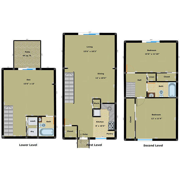 2 bedroom 2 bathroom floor plan of Cloisters townhouses with den