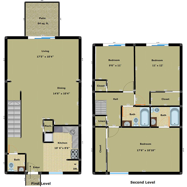 3 bedroom 2.5 bathroom apartment floor plan of Cloisters townhouses for rent in Henrico, VA