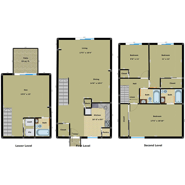 3 bedroom 3 bathroom with den floor plan of Cloisters townhouses for rent in Henrico, VA