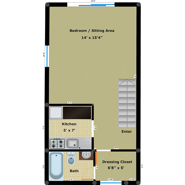efficiency 1 bathroom floor plan of Cloisters townhouses